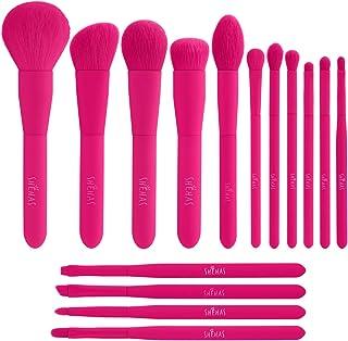 Makeup Brush Set, 15 Piece Quality Makeup Brushes, Premium Synthetic Make Up Brushes for Foundation Powder Blush Highlighter Concealer Makeup Brush Kit for Travel, Hot Pink