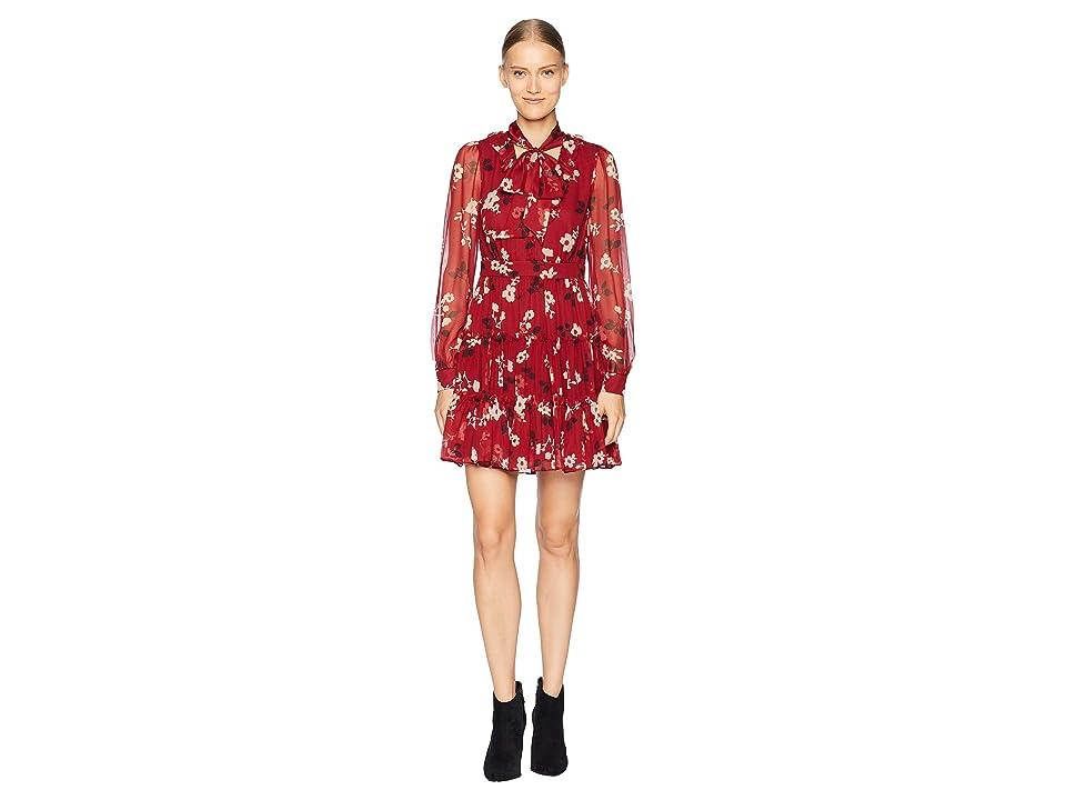 Kate Spade New York So Foxy Camelia Chiffon Mini Dress (Deep Russet) Women