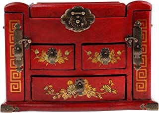 F Fityle Wood Retro Style Cosmetic Case Jewelry Box Organizer Storage Box Wood Art Collections Gift - Red, as described