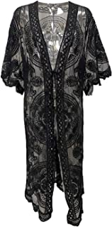Women Sexy Summer Swimsuit Cover up Long Sleeve Lace See-Through Kimono Style Floral Smock Cardigan Dress Bikini Hollow Ou...
