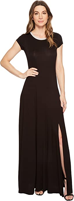 Cap Sleeve Slit Maxi Dress