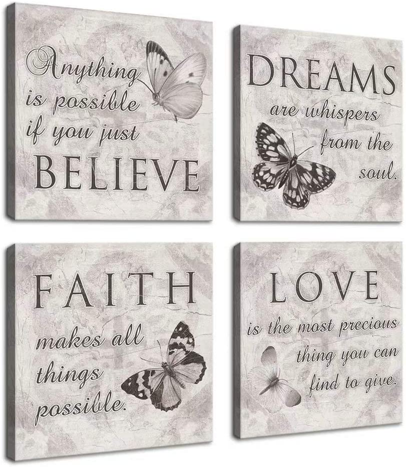 Black and White Butterfly Family Canvas 67% OFF of fixed price Wall Art Inspirational Award-winning store Q