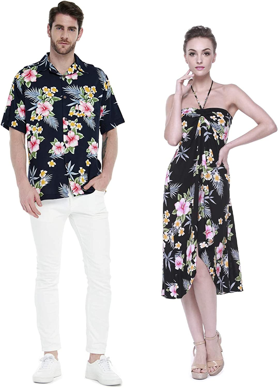 Couple Matching Hawaiian Luau Cruise Party Outfit Shirt Dress in Hibiscus Blue