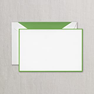 Crane Spring Green Bordered Correspondence Card, Pearl White (CC3786)