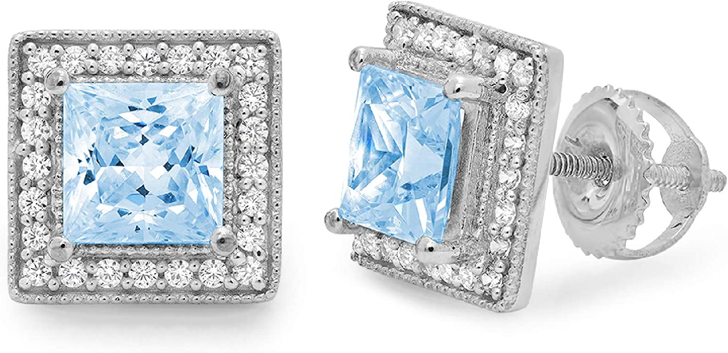 2.30 ct Princess Round Cut Halo Topaz blue Natural Sky wholesale Finally popular brand Solitaire