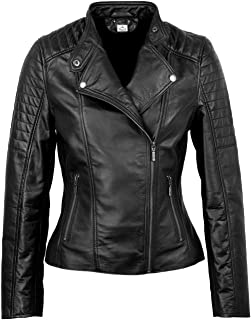 VearFit Ronald Quailted Genuine Leather Biker Jacket for Women Customize Classic