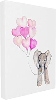 The Stupell Home Décor Collection Baby Elephant with Pink Heart Balloons Stretched Canvas Wall Art, 16 x 20