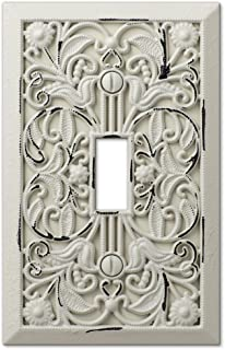 Filigree Single-Toggle Switch Plate in Antique White