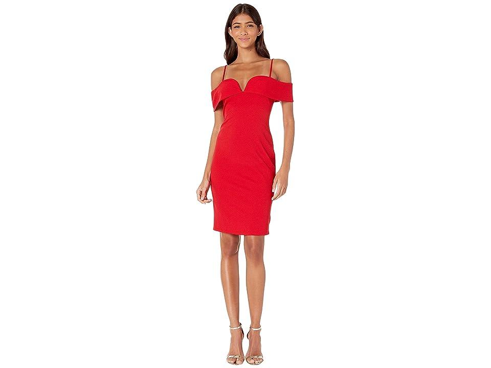 Bebe Fold-Over Off the Shoulder Short Dress (Red) Women