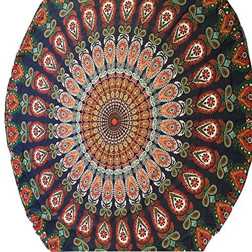 Doublehero Vintage Bedruckte Strandtuch Decken Bikini Badematte Rund Mandala Hippie/Groß Indisch Rundes Baumwolle/Retro Boho Runder Yoga Matte Tuch Meditation/Tischdecke Rund 150cm (C)