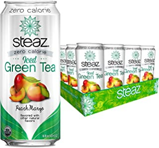 Steaz Organic Zero Calorie Iced Green Tea, Peach Mango, 16 OZ (Pack of 12)