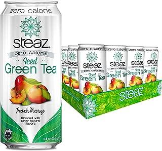Steaz Organic Zero Calorie Iced Green Tea, Peach Mango, 16 FL OZ (Pack of 12)