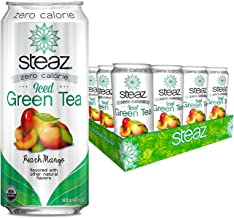 Steaz Organic Zero Calorie Iced Green Tea, Peach Mango, 16 OZ (Pack of 12)