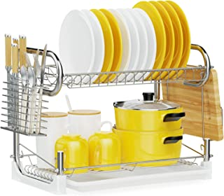 Dish Drying Rack, iSPECLE 2-Tier Dish Rack with Utensil Holder, Cutting Board Holder and Dish Drainer for Kitchen Counter,...