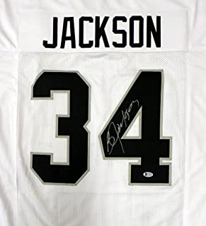 OAKLAND RAIDERS BO JACKSON AUTOGRAPHED WHITE JERSEY BECKETT BAS STOCK #125137