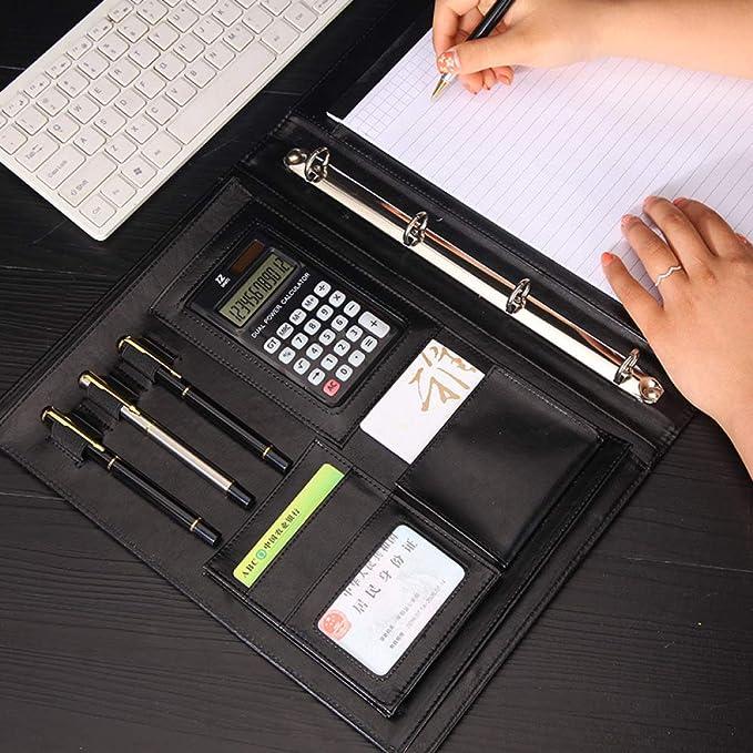 formato A4 Y-H 2 strati 10 tasche per archivi Cartella per conferenze con chiusura magnetica con calcolatrice ad anelli blocco appunti grande tasca in pelle PU