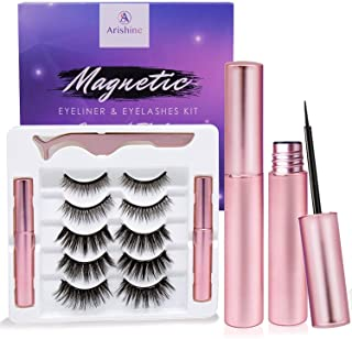 Sponsored Ad - Arishine Magnetic Eyeliner and Lashes Kit, Magnetic Eyeliner for Magnetic Lashes Set, With Reusable Lashes...