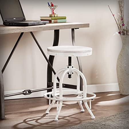 Amazon Com Southern Enterprises Industrial Adjustable Height Swiveling Stool Distressed White Whitewash Stain Furniture Decor