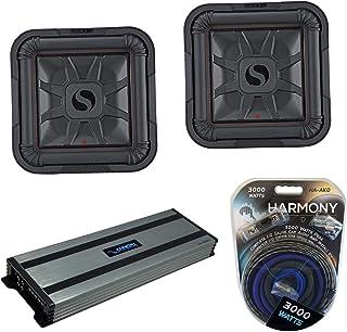 """$719 » Kicker (2) 46L7T122 Car Audio L7T Shallow Mount 12"""" Sub Square L7 Subwoofer L7T12 Bundle with Harmony HA-A1500.1 Amplifier..."""