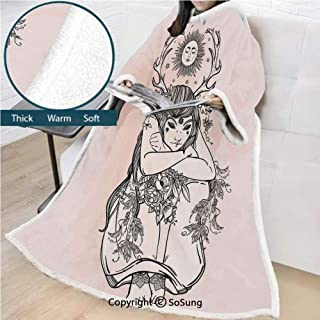 Occult Decor Premium Sherpa Deluxe Fleece Blanket with Sleeves,Art Image of Naked Girl under Sun Sublime Fairy of Nature Cosmos Nymph Deity Throws Wrap Robe Blanket for Adult Women,Men,Pink Black