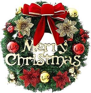 Couronne Noel Porte LED, diamètre 50cm, Guirlande de porteDécoration de Noël à Suspendre à Une Porte Couronne de Fleurs Idéal Déco Noël pour Votre Porte, Mur ou Fenêtre50cm