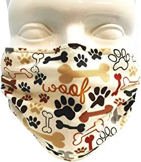 Breathe Healthy Dust, Asthma, Allergy, Cold and Flu Mask - Comfortable Protection That Outlasts Hundreds of Disposable Masks - Dog Bones and Paw Prints (Adult)