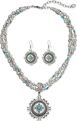 M&F Western - 3 Strand Medallion Necklace/Earrings Set