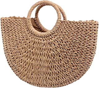 Straw Bags for Women, Hand-woven Straw Large Hobo Summer Beach Bag Round Handle Ring Toto Retro Rattan Bag