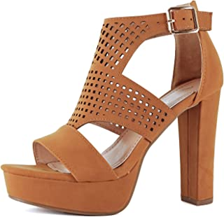 b641f139cd Guilty Shoes Womens Cutout Gladiator Ankle Strap Platform Block Heel  Stiletto Sandals