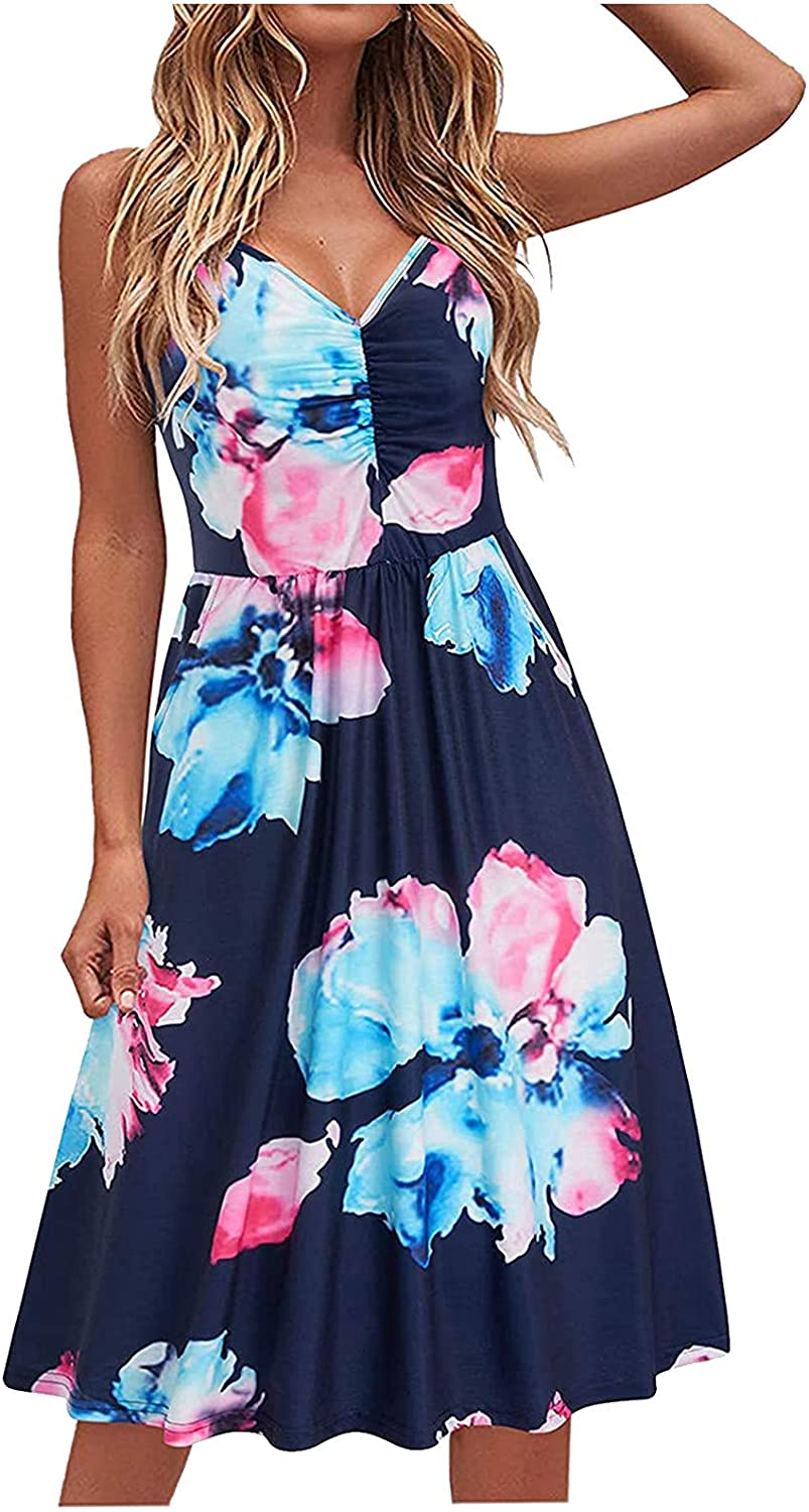 Sexy Wrap Floral Mini Beach Dress for Women V Neck Spaghetti Strap Backless Casual A-Line Sundress with Pockets