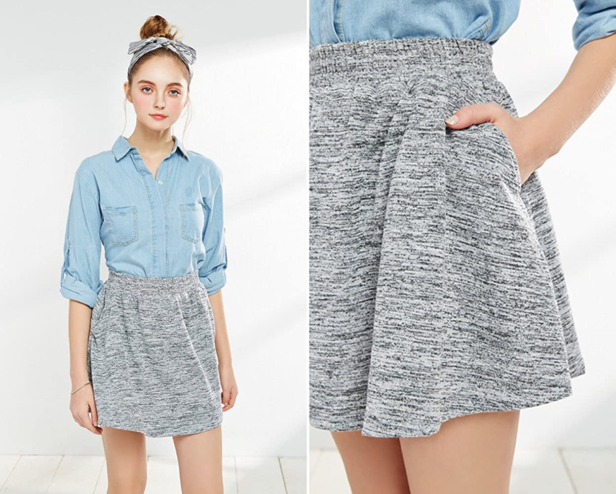 Anden Hud - Casual Mini Skirt with Real Pockets - Healther Gray
