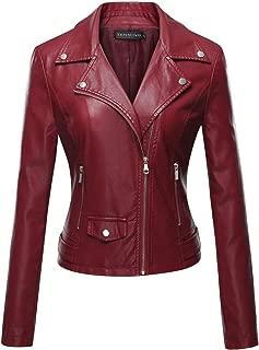 Tanming Women's Long Sleeve Zipper Fuax Leather Jacket Coat