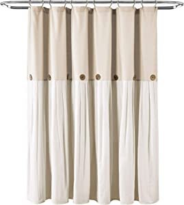 "Lush Decor Button Shower Curtain, 72"" X 72"", Linen"