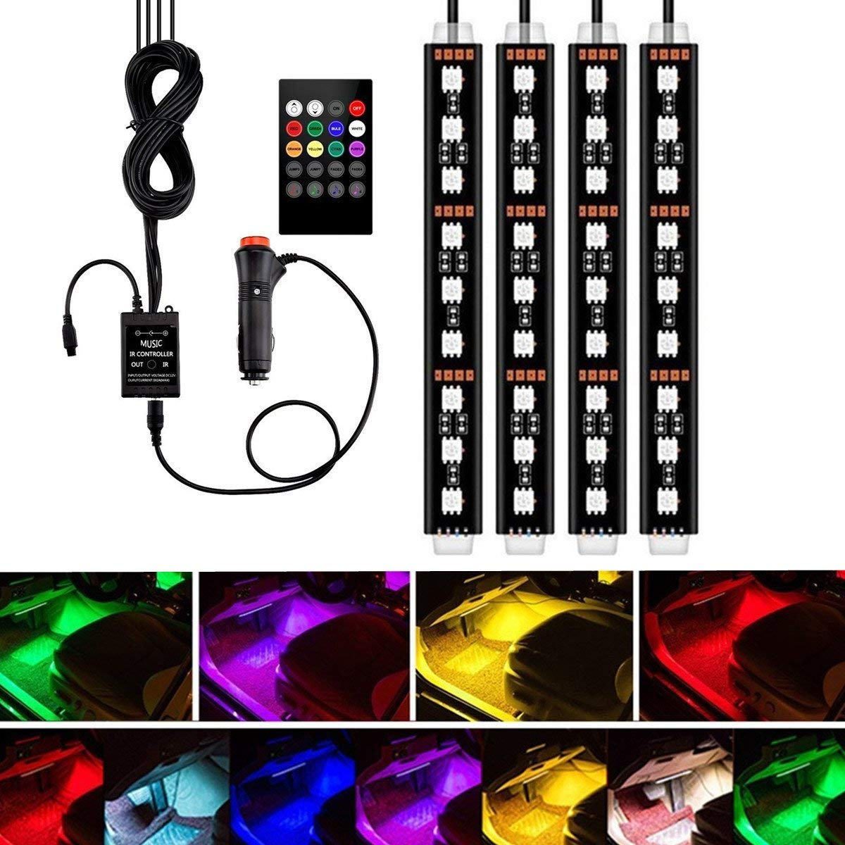 4pcs 48 LED Multicolor Music Car Interior Light LED Under Dash Lighting Kit with Sound Active Function and Wireless Remote Control Car Charger Included,DC 12V JIWINNER Car LED Strip Light