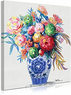 Blue and White Porcelain Chinoiserie Canvas Wall Art: Flowers in a Vase Painting Decorative Eustoma Florals Print & Hand-p...