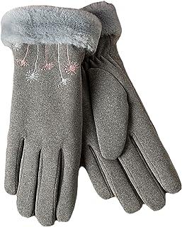 Ommda Damskie zamszowe palec ekran dotykowy rękawiczki zimowe ciepłe sztuczne futro wyściełane rękawiczki do jazdy na zewn...