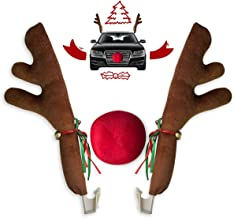 Car Christmas Reindeer Antler Decorations, Vehicle Christmas Car Decor Kit with Jingle Bells Rudolph Reindeer and Red Nose...