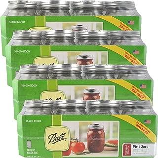 12 Ball Mason Jar with Lid - Regular Mouth - 16 oz (4 Packs of 12)