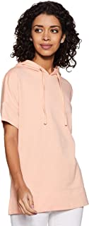 Amazon Brand - Symbol Women's Solid Loose Fit Half Sleeve Hooded T-Shirt