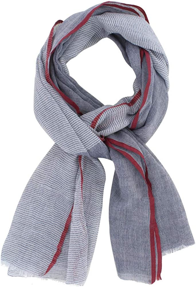 Scarf 100% Cotton Gray Blue Small White Stripes and Red Border