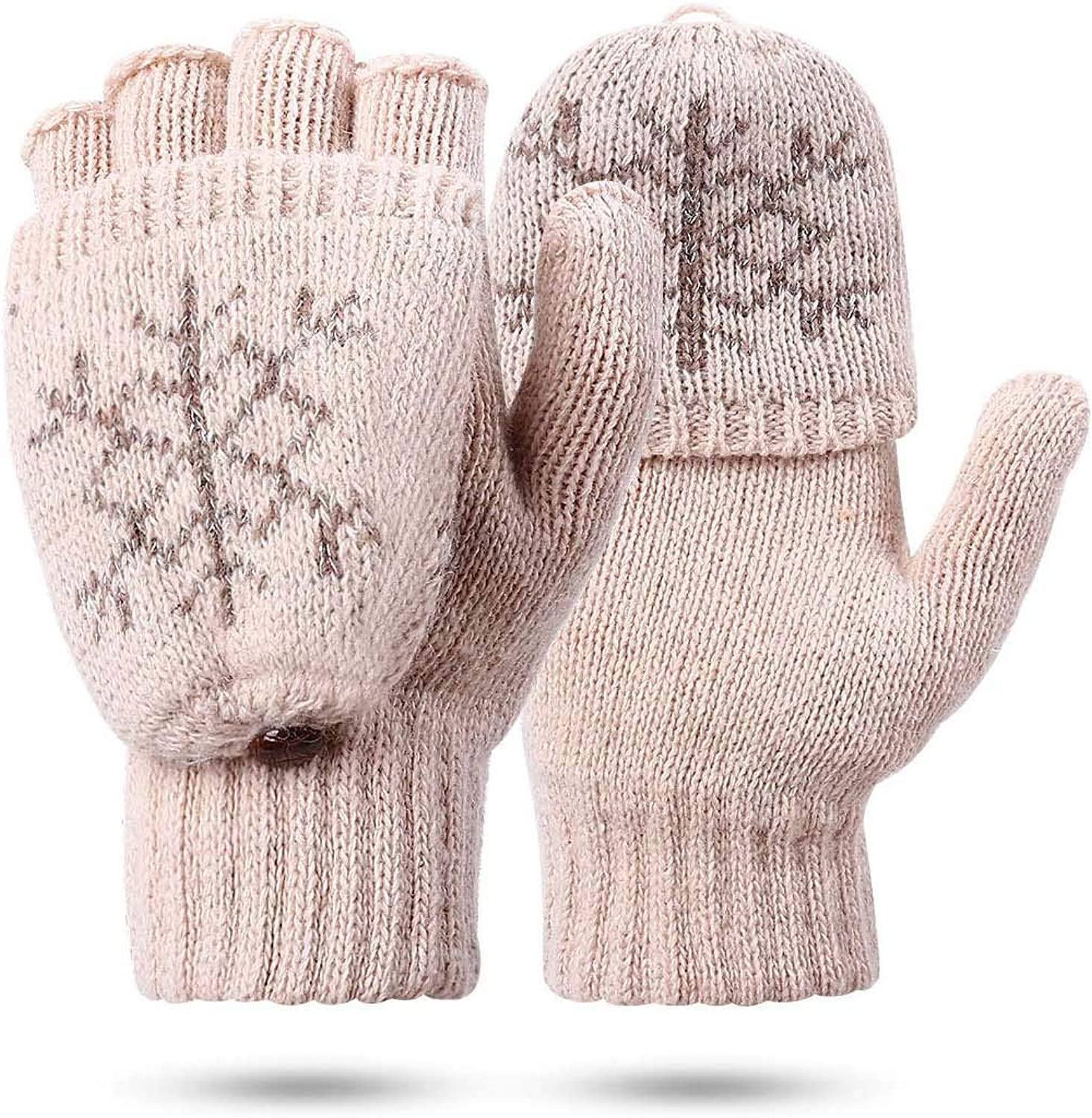 Women's Gloves Fingerless Mittens - Ladies Gloves Winter Warm Knit Fingerless Gloves Wool Mittens Flap Cover Texting Gloves