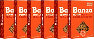 Banza Chickpea Pasta – High Protein Gluten Free Healthy Pasta – Variety Case (Shells Elbows, Penne, Rotini) (Pack of 6)