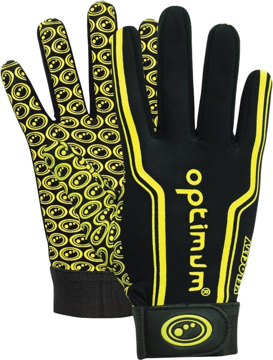 Optimum Junior Velocity Rugby Gloves, Black/Yellow, 3X-Small (Mini)