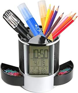 AlleTechPlus Multifunctional Pen Holder Pencil Container Digital LED Desk Clock Mesh with Calendar Timer Alarm Clock Thermometer 2 Small Drawer [Back to School]