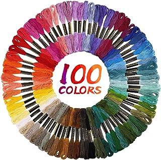 JUCERS 100 Farben Stickgarn, Embroidery Floss Multifarben Weicher Baumwolle perfekt für Freundschaftsbänder, Bracelets, Stickerei, Kreuzstich, Basteln Crafts Set, 8m, 6-fädig
