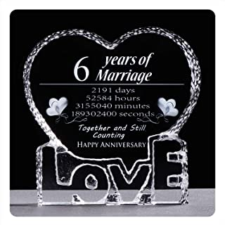 YWHL 6 Year 6th Wedding Anniversary Crystal Sculpture Keepsake Gifts for Her Wife Girlfriend Him Husband (6th Year)