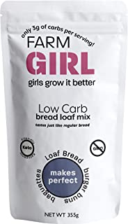 Farm Girl Low Carb Bread Mix - Keto Bread Mix For Healthy Snacks - Paleo & Keto Friendly Quick Baking Mix for White Breads & Buns - Non-GMO Baking Mixes for Oven & Bread Maker Machine 12oz Flour
