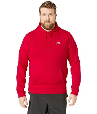 Nike Big Tall Club Fleece Pullover Hoodie (University Red/University Red/White) Men