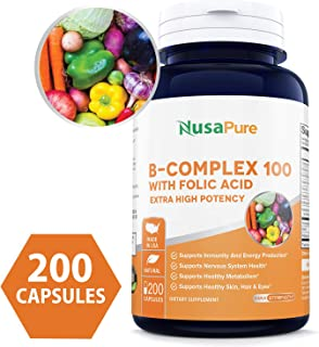 B-Complex 100 (Non-GMO, Soy Free & Gluten Free) 200 Capsules - Aids Metabolism and Antioxidant Support - with Choline, Inositol, Paba & Folic Acid
