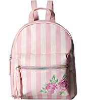 Striped Flower Embroidered Mini Backpack
